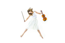 Child Girl With Violin Jumps And Flies Beautiful And Happy In White Background