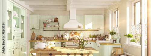 retro kitchen in a cottage with sun flares. 3D RENDERING