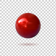 Red Pin Button, VECTOR Illustration, Sphere On Transparent Background, Realistic Icon.