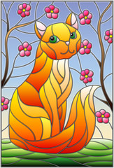 Naklejka Illustration in stained glass style with red cat against the sky and tree branches