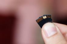 Micro Sd Card In Human Fingers...