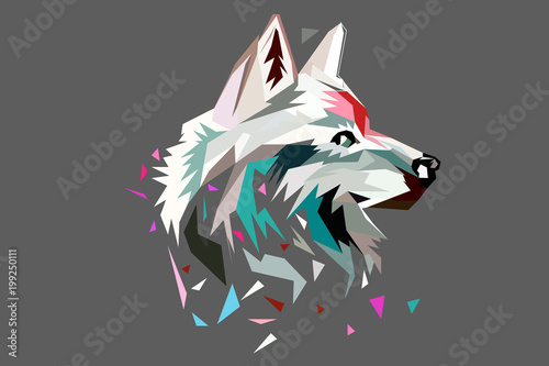 Naklejki wilk  the-head-of-a-wolf-polygon-style-low-poly