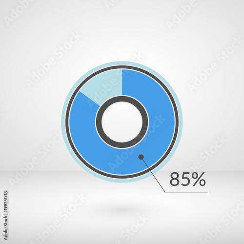 Fotografia  85 percent pie chart isolated symbol