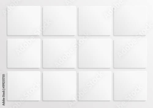 Fototapeta White paper mock up blanc. Wite paper cut background with 12 parts. Banner template mockup. Background for calendar. Vector AI10 obraz na płótnie