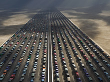 Rows Of Cars In A Traffic Jam