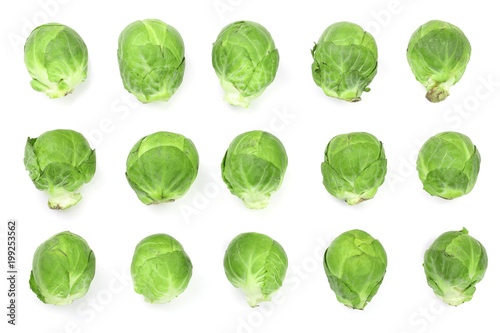 Stickers pour portes Bruxelles Brussels sprouts isolated on white background closeup. Top view. Flat lay. Set or collection