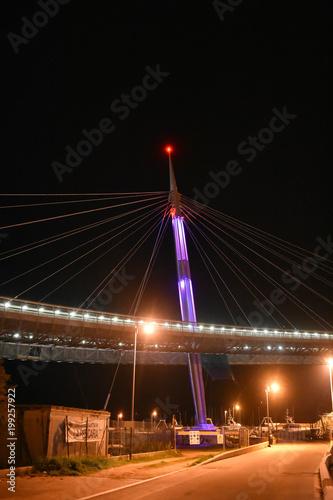 Tuinposter Bruggen Night Pescara Bridge, Ponte del Mare, Abruzzo, Italy