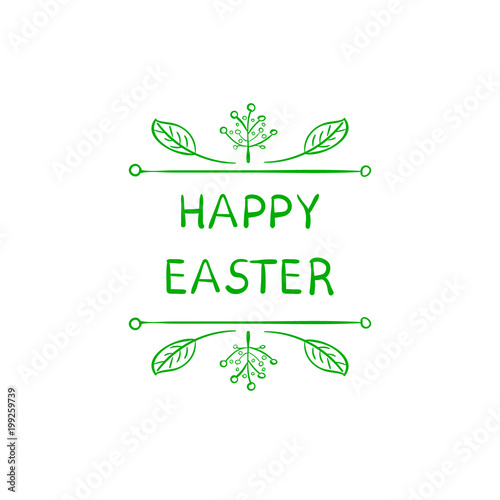 Easter greeting card cute doodle floral frame and words happy easter greeting card cute doodle floral frame and words happy easter spring m4hsunfo