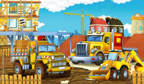 Scena kreskówki z zabawnych samochodów budowlanych - ilustracja dla dzieci