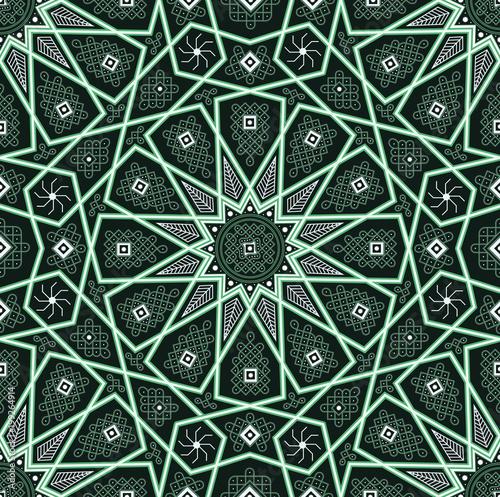 Set of islamic oriental patterns, Seamless arabic geometric
