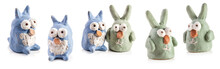 Rabbits And Owls Figurines Fro...