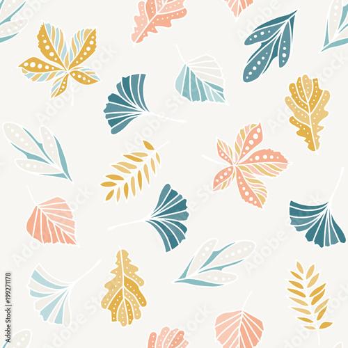 Fototapeta Seamless pattern with colorful leaves. summer seamless pattern, bright, bright, summer leaves. obraz na płótnie