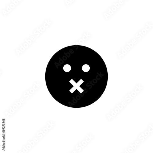Fotografie, Tablou  Mute emoticon square face vector icon