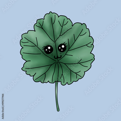 cute chibi pelargonium leaf Poster