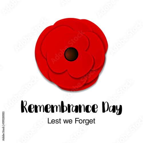 Remembrance day vector card anzac day paper cut red poppy flower remembrance day vector card anzac day paper cut red poppy flower mightylinksfo