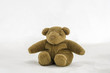 Teddy bear doll sitting on white background