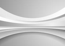 Grey White Abstract Tech Wavy ...