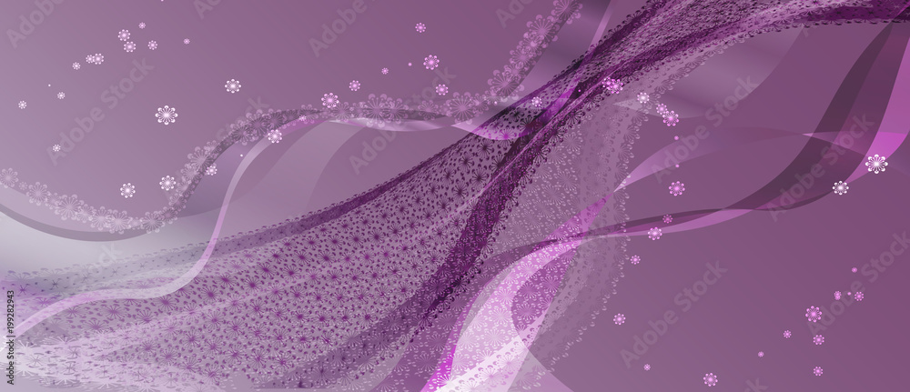Purple abstract background. Vector wave with floral ornament