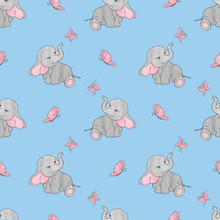 Seamless Pattern With Cute Elephants And Butterflies On Blue. Vector Background For Kids Design.
