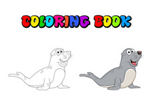 Cartoon Seal Coloring Book Iso...