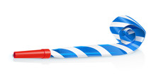Party Whistle For Birthday. Childs Sound Toy With Stripe Tube.