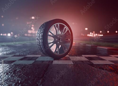 Fényképezés  Reifen auf nasser Rennstrecke