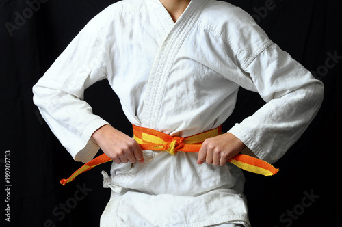 Fotografie, Obraz  child's hands making a bow on karate belt