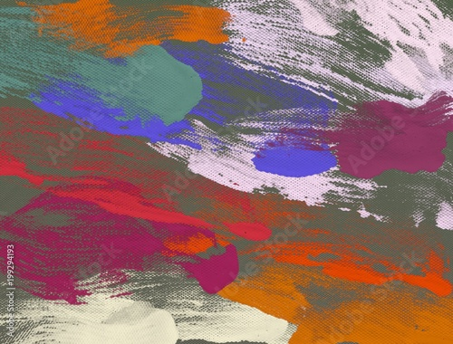 Poster Bordeaux Abstract painting on canvas. Hand made art. Colorful texture. Modern artwork. Strokes of fat paint. Brushstrokes. Contemporary art. Artistic background image.