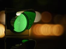 Red Traffic Light In The Dark ...