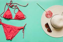 Red, Pink Bikini Suit, Lollipo...
