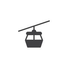 Cable Car Vector Icon. Filled Flat Sign For Mobile Concept And Web Design. Ropeway Cabines Simple Solid Icon. Symbol, Logo Illustration. Pixel Perfect Vector Graphics