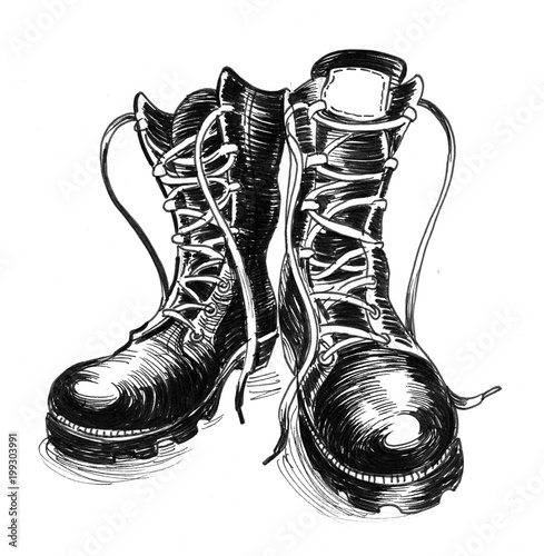 Fotografía  Ink black and white illustration of a military boots