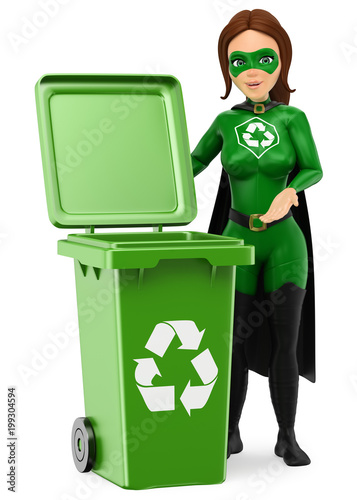 Fotografía  3D Woman superhero of recycling standing with a green bin for recycling