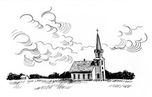 Ink Black And White Landscape With A Small Church