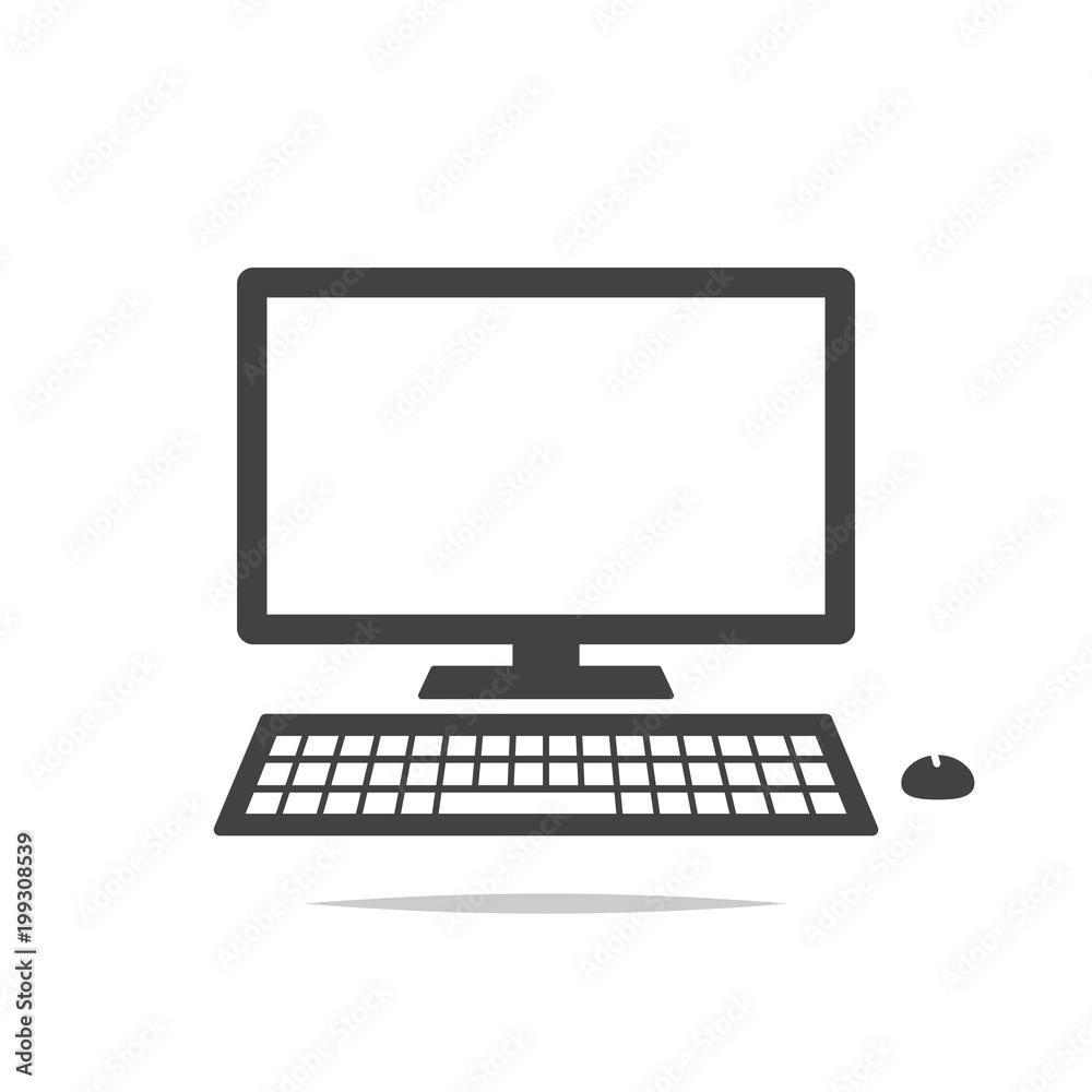 Fototapeta Desktop computer icon vector isolated