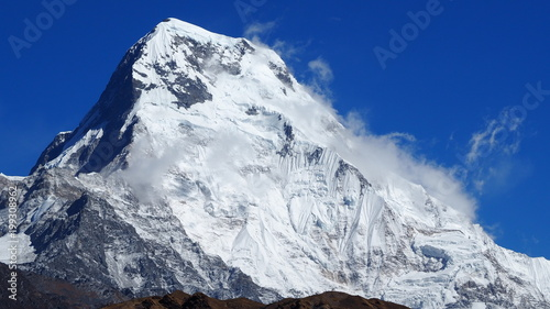 Summit of Annapurna South taken from Poon Hill, Nepal Canvas Print