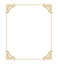 Thin Gold Beautiful Decorative Vintage Frame For Your Design. Making Menus, Certificates, Salons And Boutiques. Gold Frame On A Dark Background. Space For Your Text. Vector Illustration.