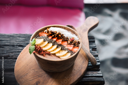 Superfood Smoothie Bowl On Wooden Rustic Table Raw Vegan Healthy Eating Dessert Food Photography Concept Bright Vivid Colors Copy Space Horizontal Buy This Stock Photo And Explore Similar Images At Adobe