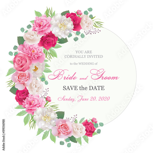 Wedding Invitation Cards With Roses And Peonies Beautiful