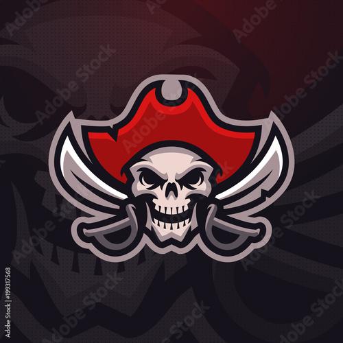 "Cuadros en Lienzo ""Dead Pirate"" mascot logo. Eps10 vector."