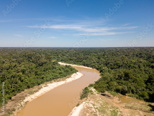 Photo Aerial view of the Abuna River that divides the Brazilian and Bolivian Amazon border