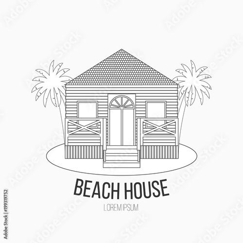 Vector illustration of outline summer house. Beach house logo or.