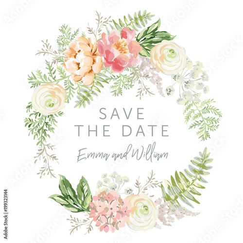 Poster Fleur Wedding wreath Save the date. Pink flowers and green leaves. Watercolor vector illustration. Summer forest greenery bouquets.