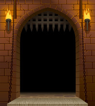 Medieval Castle Gate With A Drawbridge And Torches With A Black Aperture