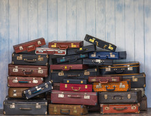 Set Of Old Suitcases.Vintage T...