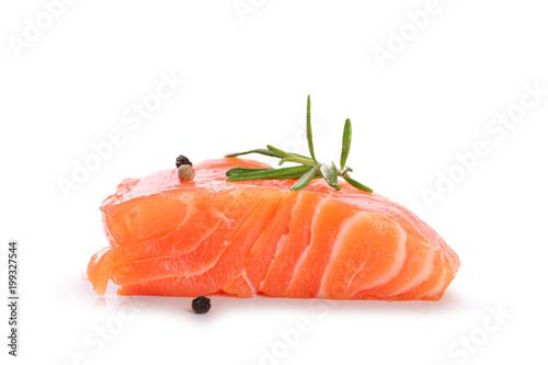 Poster Vis pavé de saumon sur fond blanc
