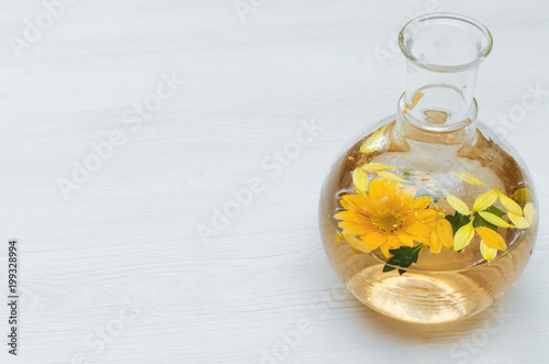 Chrysanthemum daisy flower essential oil tincture bottle on the chrysanthemum daisy flower essential oil tincture bottle on the white wooden table background with copy space mightylinksfo
