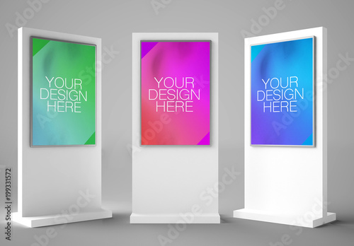 3 Interactive Kiosks Mockup  Buy this stock template and