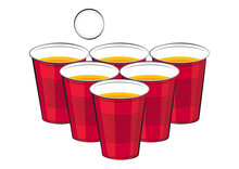 Vector Red Plastic Cups Of Bee...