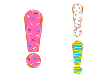 Sweet Donut Font Vector. Excla...